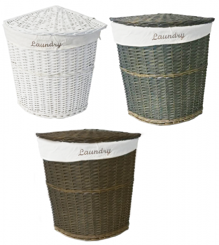 Exceptionnel White Brown Olive Wicker Corner Laundry Basket Bin Bathroom Bedroom Storage  CLBROB